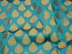 Iindian Brocade Fabric by the yard Teal Banarasi Brocade Wedding Dress Fabric Blended Silk Fabric Banaras fabric costume crafting sewing