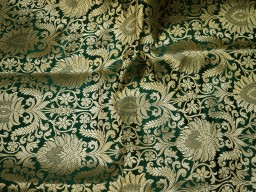 Bottle Green Gold Brocade Fabric by the Yard Banarasi Wedding Dress Fabric Banaras Home Décor Clothing Accessories Curtains Table Runners