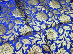 Blue and Gold Brocade Silk Fabric in woven roses Indian Silk