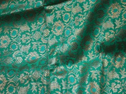 Banaras Brocade Silk Sea Green Gold blended silk brocade floral design Fabric
