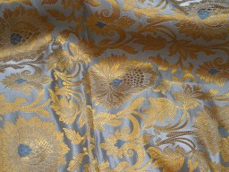 Grey Brocade Fabric by the Yard Banarasi Fabric Banaras Brocade Art Silk Wedding Dress Crafting Sewing Cushion Cover Home Décor Costume