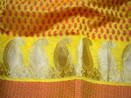Yellow Indian Chanderi brocade Indian brocade fabric by the yard dress fabric Crafting sewing costume Home Décor Cushion Covers Curtains
