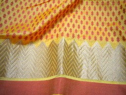 Yellow Indian Chanderi brocade fabric by the yard dress fabric Crafting sewing costume Home Décor Cushion Covers Curtains Table Runners
