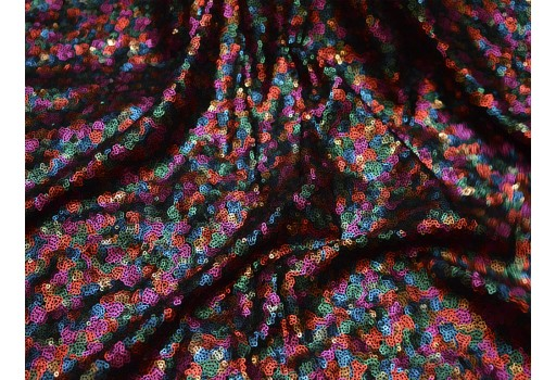 Multicolor Georgette Wedding Dress Embroidery Sequins Embroidered Fabric by the Yard Indian fabric Saree Crafting Sewing Costume Doll Making