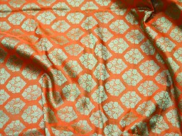 Orange indian jacquard fabric for bow ties, brocade fabric by the yard wedding dress fabric bridesmaid dress fabric banaras sewing crafting