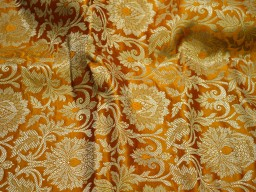 Mustard yellow brocade fabric banarasi brocade fabric by the yard gold banaras brocade wedding dress indian art silk crafting sewing
