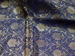2.25 Meter Indian Navy blue brocade fabric crafting brocade wedding dress banarasi bridal dress material sewing lengha costumes