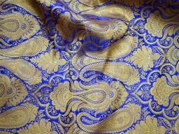 Royal blue sewing crafting indian banarasi brocade fabric by the yard wedding dress brocade fabric bridal dress material skirts cushions