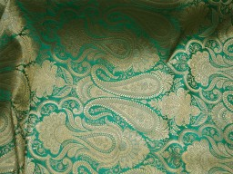 Sea green sewing crafting indian banarasi brocade fabric by the yard wedding dress brocade fabric bridal dress material skirts cushions