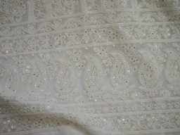 Ivory Georgette Sequined Wedding Dress Embroidered Sequin Saree Crafting Sewing Costumes Dye-able chikankari Fabric