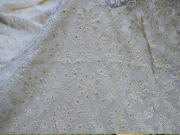Dyeable ivory georgette sequined wedding dress embroidered fabric by the yard indian sequin saree crafting sewing costumes chikankari