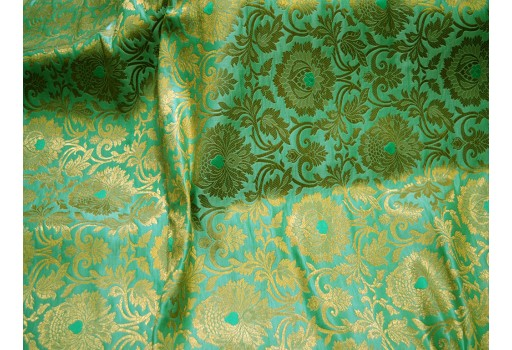 Mint green indian fabric silk brocade fabric banarasi brocade fabric banaras blended silk for wedding dress lengha crafting sewing brocade fabric