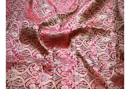 Red brocade fabric gold banaras brocade fabric for crafting sewing home decor sari blouse wedding dress fabric banarasi fabric by the yard