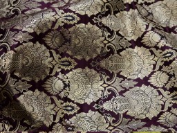 Crafting wine brocade fabric by the yard jacket banarasi fabric indian blended silk dress material sewing cushion covers home décor
