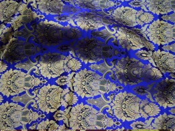 Crafting royal blue brocade fabric by the yard jacket banarasi fabric indian blended silk dress material sewing cushion covers home décor brocade fabric