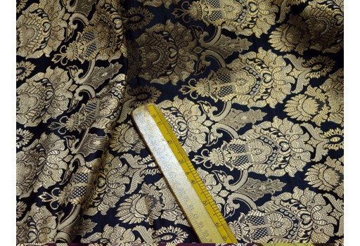 Black banarasi blended silk brocade by yard banaras wedding dress sewing crafting costumes bridesmaid skirt lehenga cushion cover home furnishing fabric