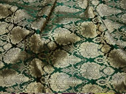 Crafting green brocade fabric by the yard jacket banarasi fabric indian blended silk dress material sewing cushion covers home décor