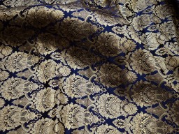Crafting navy blue brocade fabric by the yard jacket banarasi fabric indian blended silk dress material sewing cushion covers home décor
