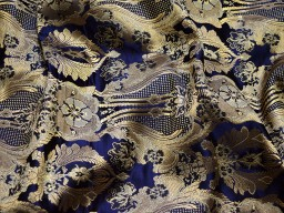 Home décor crafting navy blue brocade fabric by the yard jacket banarasi fabric indian silk dress material sewing cushion covers