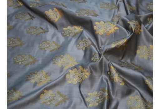 banarasi grey gold brocade fabric by the yard banaras brocade pant wedding dress fabric sewing crafting costumes bridesmaid vest coat skirt