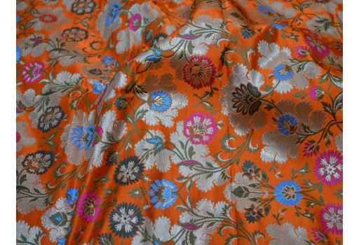Banaras silk fabric orange silk brocade by the yard wedding dress fabric banarasi silk fabric dress material crafting fabric