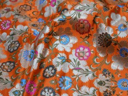Banaras silk fabric orange silk brocade by the yard wedding dress fabric banarasi silk fabric dress material crafting fabric