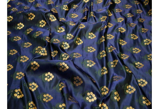 Navy blue sewing banaras blended silk brocade fabric by the yard varanasi wedding dress making crafting costume bridesmaid lehenga vest coat skirt boutique material brocade table runner