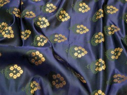 Navy blue sewing banaras brocade fabric by the yard varanasi brocade wedding dress fabric crafting costume bridesmaid vest coat skirt