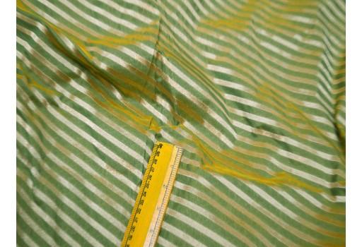 Green benarse wedding dress fabric brocade by the yard diagonal stripes indian brocade banarasi sewing dress material costume crafting
