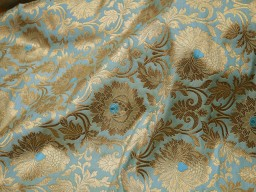 Benarse brocade fabric turquoise gold banarasi brocade fabric banaras brocade blended silk for wedding dress lengha crafting sewing