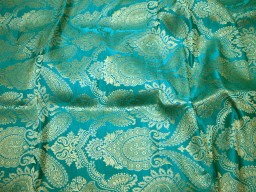 2.5 Meter Rama Green Banarasi Brocade unique design Banarasi Wedding Dress Lehenga Skirt Costume Crafting sewing accessories Furniture Cover Fabric