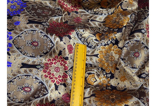 Banaras silk black brocade by the yard benarse wedding dress fabric banarasi silk dress material lengha crafting sewing costumes