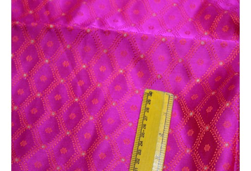 Magenta benarasi blended jacquard silk brocade by the yard fabric occasion curtain making material outdoor brocade hair crafting scrap booking projects