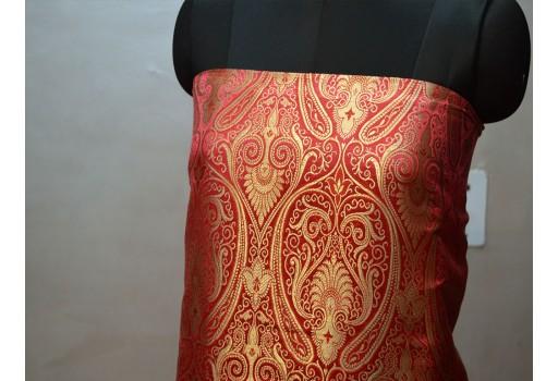 Coral Red Brocade Fabric By The Yard Indian Wedding Dress Banarasi Silk Crafting Costume Varanasi bridal lehenga Ethnic wear sewing accessories
