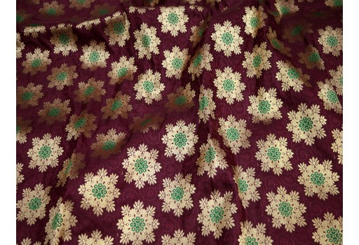 Burgundy crafting sewing jacquard fabric skirt indian brocade fabric by the yard wedding dress fabric bridesmaid costumes coa