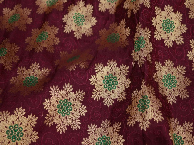 Burgundy crafting sewing blended silk brocade by the yard Indian wedding dress bridesmaid costumes lehenga gown cushion cover home décor furnishing fabric