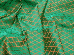 Green silk jacquard fabric by the yard banarasi fabric banaras silk brocade fabric for designing bridal dresses