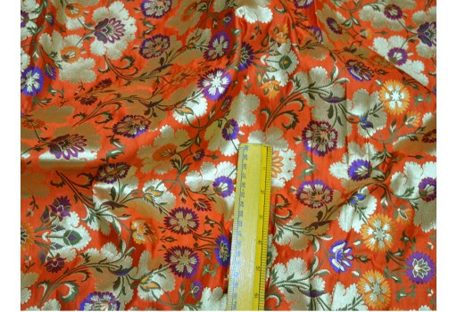 Beautiful multi color banarasi pure silk brocade in floral design fabric material crafting sewing cushion covers home décor brocade fabric