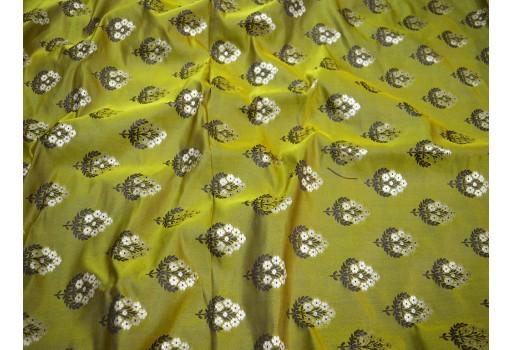 Olive green jacquard fabric indian banarasi brocade fabric wedding dress skirts fabric bridesmaid floral dress brocade curtain  fabric