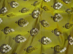 1.5 Meter olive green jacquard fabric Indian banarasi blended silk brocade wedding dresses skirts bridesmaid lehenga costumes  crafting sewing cushion cover table runner
