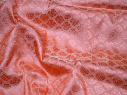 Silk wedding dress fabric crafting sewing peach banarasi making dress fabric home décor brocade fabric