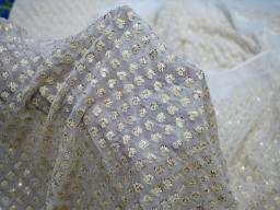 Sequin saree ivory georgette sequined wedding dress embroidered fabric by the yard crafting sewing costumes dye-able chikankari