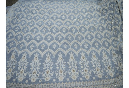 Embroidered fabric ivory georgette sequined wedding dress indian sequin saree crafting sewing costumes dye-able chikankari floral dress fabric