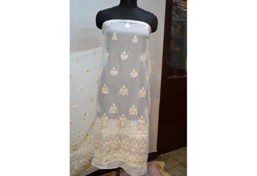 Embroidered fabric ivory georgette sequined wedding dress indian sequin saree crafting sewing fabric