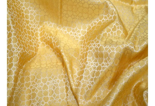 Beige banarasi brocade fabric sewing dress material brocade wedding wear stitch brocade dress Bridesmaid dress Crafting Costume brocade fabric