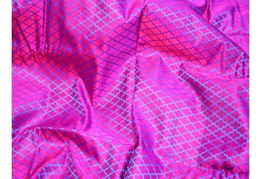 Tanchoi banarsi by the yard fabric bridesmaid dresses making magenta navy blue jacquard silk vest coat ties crafting sewing accessory brocade