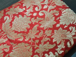 44 Inch Wide Silk Brocade Fabric In Red And Gold With Motifs Weaving Indian Dresses Pure Banarasi Brocade Fabric By The Yard For Blouses