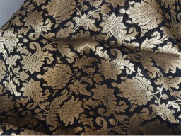 Blended silk brocade motifs design fabric in Black and Gold