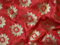 Red brocade fabric by the yard for jacket banarasi fabric indian blended silk dress material crafting sewing cushion covers home décor