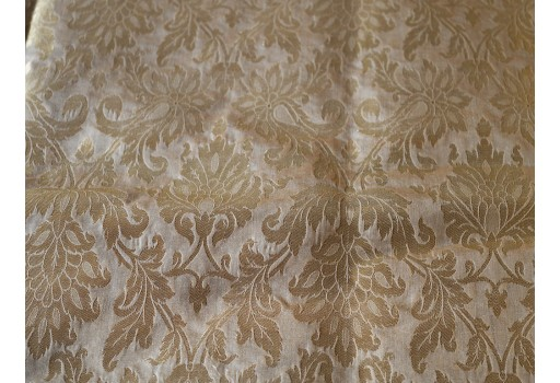 Blended Silk Brocade in Beige Gold with Motifs Weaving Indian Dresses making Banarasi Fabric by the Yard crafting Sewing home decor